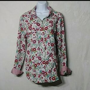 Sz L  Bright Mod Floral Snap Button Up Camp Shirt